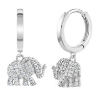 925 Sterling Silver Clear CZ Good Luck Elephant Amulet Dangle Hoop Earrings