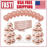 30PCS 12'' Rose Gold Confetti Foil Balloons Set Party Birthday Wedding Decor US