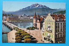 AK Luzern 1905-15 Hotel Schwanen Restaurant Straße Häuser Brücke Gebäude !!