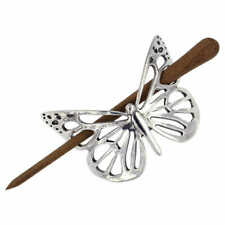 Butterfly Hair Slide / Clip with Wooden Pin - St Justin Pewter PH50
