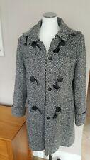 LEBEK designer ladies uk12 CH40 Tweed black & White wool blend duffle Coat  vgc