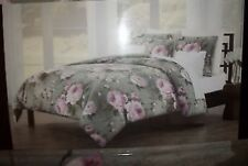 Tahari Home Green Floral King Comforter Set Retail $300