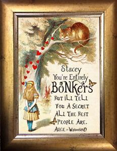 PERSONALISED Alice in Wonderland ART PRINT VINTAGE ANTIQUE Christmas Gift #77