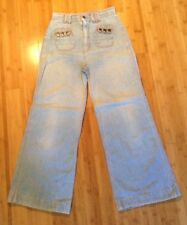 "Vtg 70s Denim Bell Bottom Jeans Pants Daddy's Money Sz S? 27"" W FLAWS As-IS Z53"