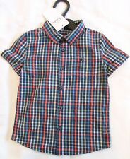 NEW BOYS SHORT SLEEVE SHIRT 3-4 YEARS MULTI BLUES CHECK MARKS & SPENCER