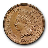 1864 1C Copper Nickel Indian Head Cent CN ANACS MS 62 Uncirculated Original