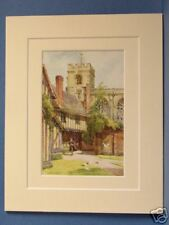 THE GRAMMER SCHOOL AND GUILD CHAPEL STRATFORD ON AVON VINTAGE DOUBLE MOUNTED PIC