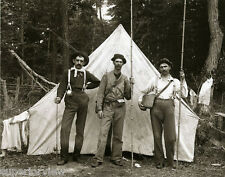 Old Time Fish Tent Camp Bamboo Poles Creels Worm Holders Hats Suspenders CLASSIC