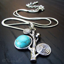 Tree of Life Pendant Necklace With Turquoise Gemstone And Swarovski Crystals
