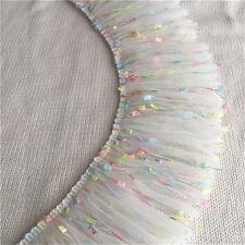 """1Yard Lace Trim Tassels Colorful Ruffled Baby Dress Wedding Trims 3.93""""Width"""