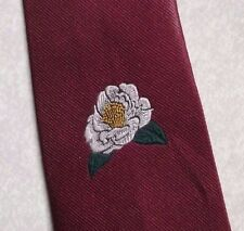 TOYE KENNING & SPENCER FLOWER CREST MENS TIE VINTAGE RETRO BURGUNDY 1980s 1990s