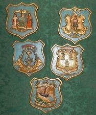 5 Vintage US State Seals Hand Painted Cast Iron Plaques NH, MA, RI, CT, New York