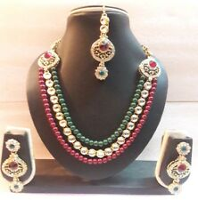 New Traditional Indian Wedding & Party Gold Tone  Multi Color Pearl Necklace Set