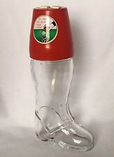 Boot Shaped Glass Bottle Snack Decanter & Bar Dice Game Combo.