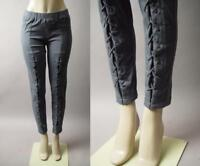 Gray Lace Up Post Apocalyptic Goth Cyber Punk Stretch Skinny 289 mv Pants S M L