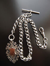 RARE 1895 VICT SILVER ROLLER BALL ALBERT CHAIN 1903 STAMPED 9ct GOLD FRONT FOB