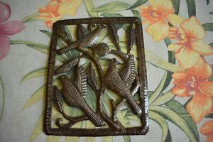 "Metal Birds Haitian Oil Drum Art ""Signed Cineus"" Handmade Haiti, 8"" x 6.25"""