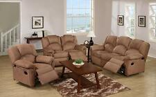 Poundex F6688 3Pcs Saddle Microfiber Motion Living Room Set Reclining