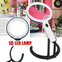 Faltbare Standleselupe Helle Beleuchtung Lupenlampe Standlupe mit Licht 10 LED*