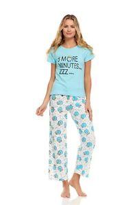 156P Womens Pants Set Sleepwear Pajamas Woman Short Sleeve Sleep Nightshirt