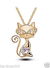 18K Yellow Gold Plated Clear Cat Pendant Necklace x SWAROVSKI CRYSTAL Chain Lady