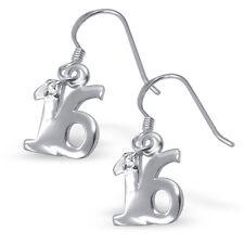 """925 argento sterling con zirconi CZ """" 16"""" sedicesimo compleanno goccia pendenti orecchini"""