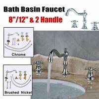 8/12inch Widespread Deck Mount Bathroom Faucet Basin Mixer Tap Dual Cross Handle