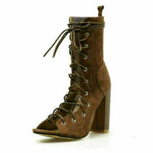 Women Ankle Boots Lace Up High Block Heel Sandals Peep Toe Shoes Party Gladiator