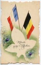 WW1 / CARTE POSTALE PEINTE / DRAPEAU / BONNE ET HEUREUSE ANNEE