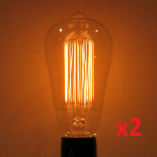 2-Pack LUMIN 30W Edison MARCONI Squirrel Cage S21 Antique Light Bulb Amber Tint