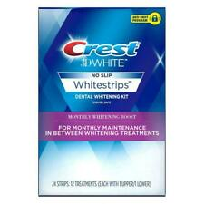 Crest 3D No Slip Whitestrips Monthly Whitening Boost 24 Strips (12 Tr) Exp:02/21