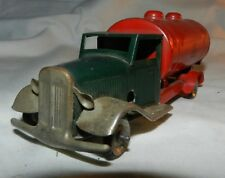 Vintage Tin Litho Minic Toys Red + Green Wind-Up Oil Truck - working