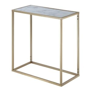 Convenience Concepts Gold Coast Marble Chairside Table, Marble/Gold - 413425M