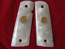 NEW WHITE PEARL RESIN GRIP FOR COLT GOVERNMENT 1911 FULL SIZE KIMBER S&W CLONES