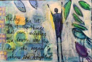 SUE BETTS ART 'Shining Bright' Original inspirational Abstract Acrylic Painting