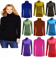 WOMENS PLAIN TURTLE POLO NECK LONG SLEEVES TOP LADIES ROLL NECK TOP JUMPER 8-26