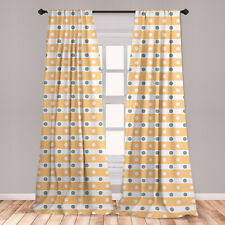 Yellow and White Microfiber Curtains 2 Panel Set Living Room Bedroom in 3 Sizes