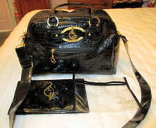 New $175 Huge BABY PHAT Black CROC Embossed DIAPER BAG + CHANGING PAD + MORE