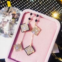 Fashion Women Long Tassel Square Crystal Ear Stud Drop Dangle Earrings Jewelry
