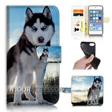 ( For iPod Touch 6 ) Wallet Flip Case Cover AJ21085 Husky Dog