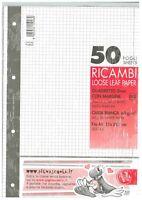 RICAMBIO QUADRETTI 5mm CON MARGINE (rigatura Q) 10 PEZZI, 10 RICAMBI FORMATO A4