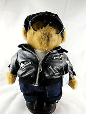Handmade Teddy Bear w Jacket glasses cap hat shoes stand 11.5""