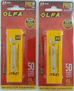 Lot of 2 OLFA 5015 AB-50B 9mm Snap-Off Silver Carbon Tool Steel Blades, 50-Pack