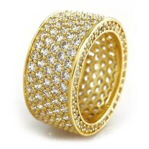 18K Gold Bling Out Iced Lab Diamond 11mm Wedding Band Mens Pinky Engagement Ring