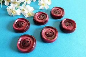 "252C Stunning Buttons Vintage "" Framboisine "" Red Rose 6 Buttons Ép. 1960/70"