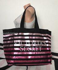 26e44aec42 Victoria s Secret White Logo Pink Metallic Stripes Black Large Canvas Tote  Bag