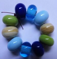 10 BLUE/GREEN IVORY SPACER LAMPWORK BEADS SRA