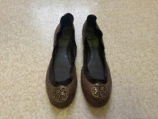 Tory Burch Gold Brown Bronze Glitter Metallic Logo Ballet Flat Shoes US10.5/UK8