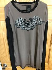 HARLEY DAVIDSON 110TH ANNIVERSARY MENS GRAY/BLACK L/S T SHIRT 2XL L/S XXL EUC!!!