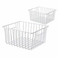 Bedrooms Pantry Household Refrigerator Bin with Built-in Handles for Organizing Cabinets SANNO Freezer Wire Storage Organizer Baskets Closets Set of 2